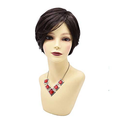LYRICAL HAIR Shaggy Layered Short Women Bob Wigs Natural Looking Heat Friendly Premium Kanekalon Synthetic Wavy Hair None Lace Glueless Wig for Ladies (F603427A, 2# Natural Black)