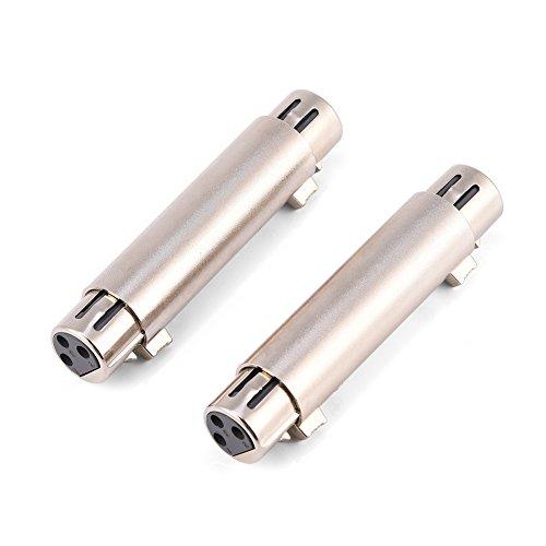 Zerone Adaptador XLR de 3 pines para micrófono de audio, adaptador de línea de micrófono, acoplador de cambio de género (hembra a hembra)