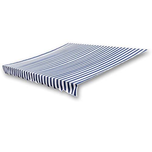 Festnight Toile d'auvent pour Auvent de Jardin Auvent pour terrasse Store Banne Toile Bleu et Blanc 436 x 296 cm | Cadre Non Inclus |