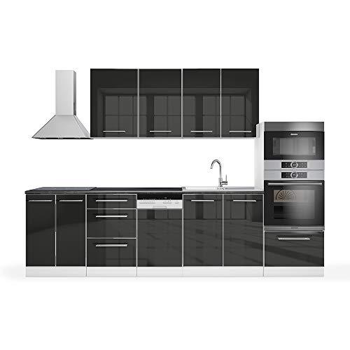 Vicco Küche Fame-Line Küchenzeile Küchenblock Einbauküche 295cm Hochglanz (Anthrazit Hochglanz)