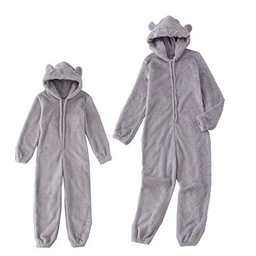 Mutter und Tochter Kleidung,Damen Kinder Baby Mädchen Fleece Jumpsuit Overall mit Kapuze Familie Kleidung Set Winter Warmer Flauschig One Piece Overall (Kinder Grau, 8-9Jahre)