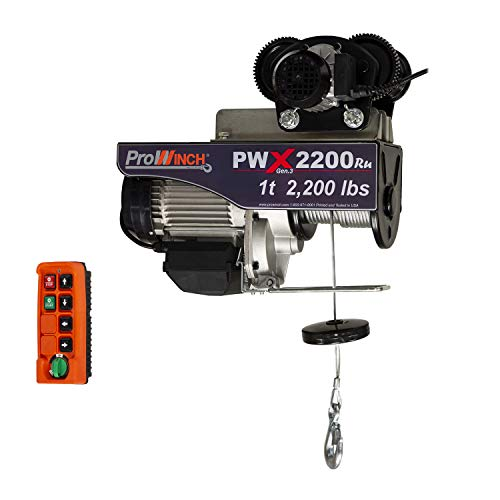 Prowinch 2 Ton Electric Chain Hoist with Electric Trolley 20ft Lifting Height G100 Chain Water Resistant Pendant Control M4//H3 Duty Cycle 3 Phase 208-240//380//460V