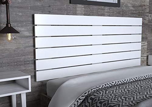 LA WEB DEL COLCHON - Cabecero de Madera Rústico Campagne para Cama de 150 (160 x 74 cms) Blanco nórdico