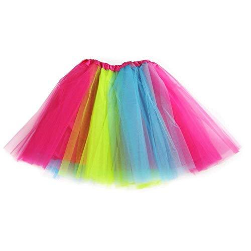 Ksnnrsng Damen Tüllrock Tütü Rock Tutu Röcke Schick Kleid Ballett Petticoat 50er Jahre Party zum Abend Kostüme Erwachsene Weihnachten Halloween (Regenbogen)