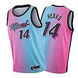 Ṃiaṃi Ḥeaṭ Ṭylẹr Ḥerrọ 14# マイアミヒートタイラーヒーロー 男子バスケットボールジャージーシャツ、20-21シティエディションスウィングマンバスケットボールユニフォームスポーツベスト Pink and blue-M