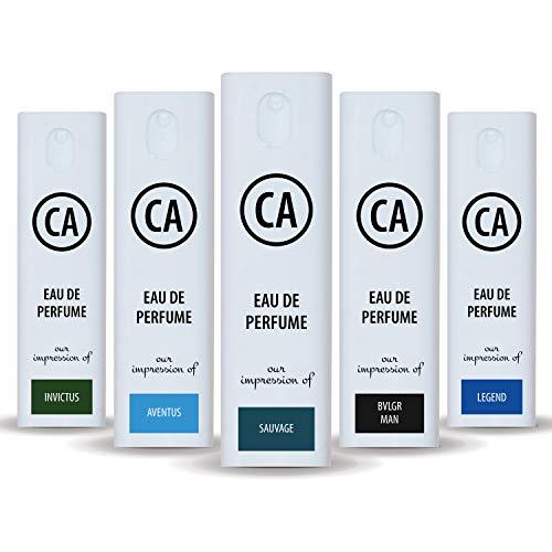 CA Perfume 2020 Most Attractive Men Set Impression of ( Aventus + Sauvage + Bvl. Man + Invictus + Legend )Fragrance Sample Travel Size Parfum Sprayer ( 0.3 Fl Oz/10 ml) x5
