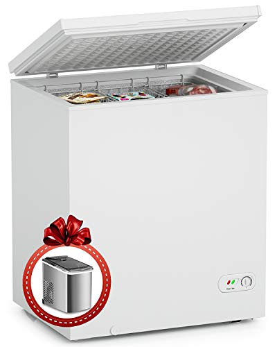 ADT Chest Freezer 5.0 Cubic Feet Free-Standing Top Door Freezers 6.8℉ to -4℉ White with a Gift Of Ice Maker