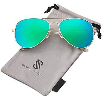 SOJOS Classic Aviator Polarized Sunglasses for Men Women Vintage Retro Style SJ1054,Gold/Greenish Blue