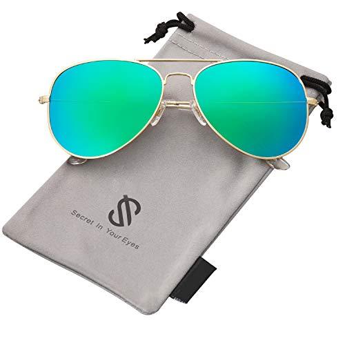 SOJOS Classic Aviator Polarized Sunglasses Mirrored UV400 Lens SJ1054 with Gold Frame/Green Mirrored Lens