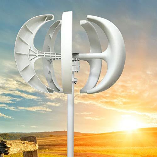 12 V Windkraftanlage Windanlage Yunrux Windräder Lantern Wind Turbine mit Controller Windturbine Generator Vertikale Windgenerator Kit 5 Blätter Windturbinengenerator Weiß 600 W