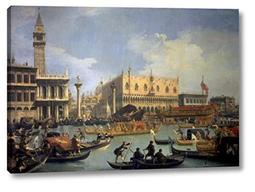"The Betrothal of The Venetian Doge to The Adriatic by Canaletto - 14"" x 20"" Canvas Art Print Gallery Wrapped - Ready to Hang"