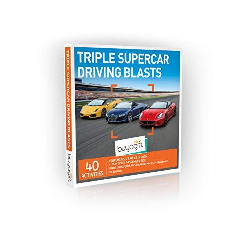 Buyagift Triple Supercar Driving Blast Gift Experiences Box – más de 40 emociones de conducción de superdeportivo triple alimentado por adrenalina, con varios lugares alrededor del Reino Unido…