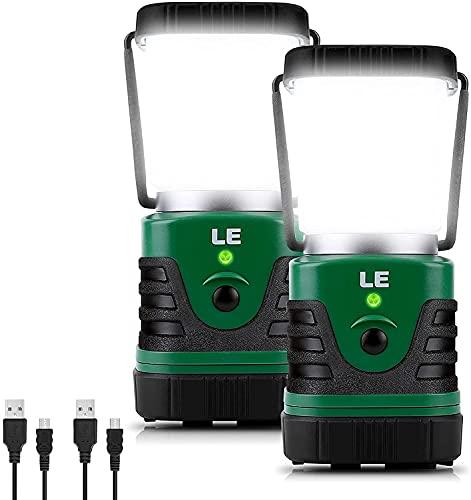 LE Linterna de Camping Recargable, Lámpara de Camping LED 1000lm, Farol Camping 4 Modo Luz de Emergencia, Luz de Carpa Resistente al Agua para Acampar, Caminar, Pescar, Cortes de Energía y Más, 2 pack
