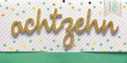 Perleberg Geburtstagskarte zum 18. Geburtstag Lettering Surprise - achtzehn - 11 x 22 cm 7784001-2