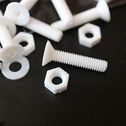 20 x tuercas y tornillos avellanados con agujero transversal Polipropileno Blancos (PP), acrílico, Pernos Tornillos y Tuercas de Plástico, M4 x 20mm, anticorrosivo