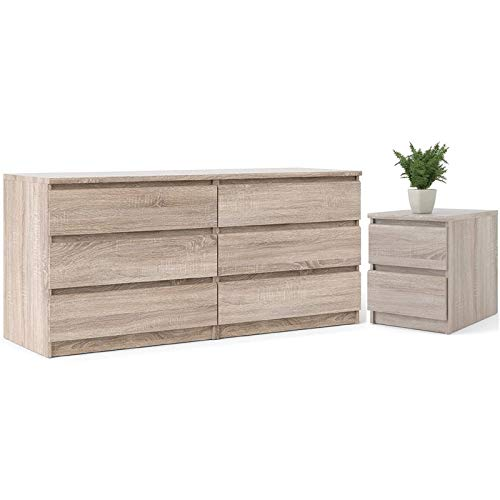 Home Square 6 Drawer Double Dresser and 2 Drawer Nightstand Set in Truffle