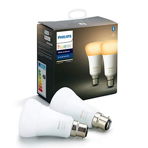Philips Hue Ampoules LED Connectées White Ambiance B22 Compatible Bluetooth, Fonctionne avec Alexa Pack de 2