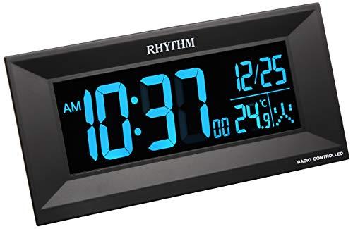 リズム時計 電波 目覚まし 時計 デジタル Iroria M イロリアM グラデーション LED 365色 表示 黒 RHYTHM 8RZ196SR02