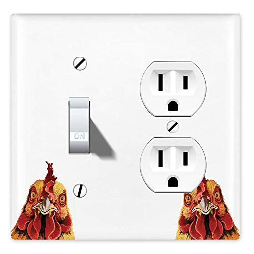 WIRESTER Double Gang-1 Duplex Outlet Cover and 1 Toggle Light Switch Plate/Wall Plate Cover - Cochin Chicken