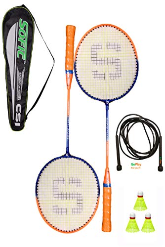 SHIVGAN Goplay Badminton Racket Set of 2 with Free 1 Skiping Rope & 3 Pieces Nylon shuttles with Good Looking Fancy Cover