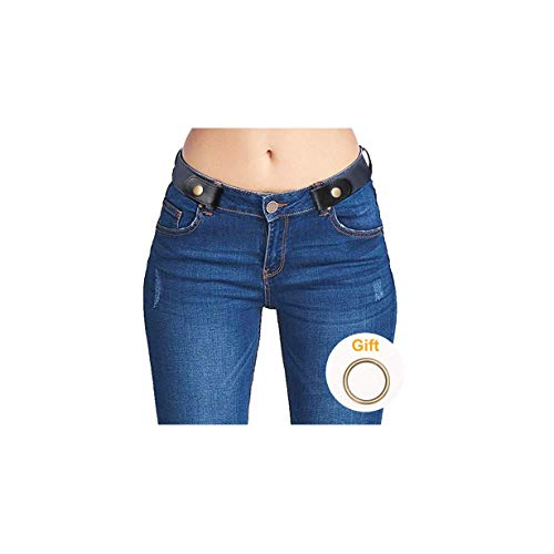 No Buckle Stretch Belts for Men and Women Blue, Invisible Belts for Jeans Pants, Size L