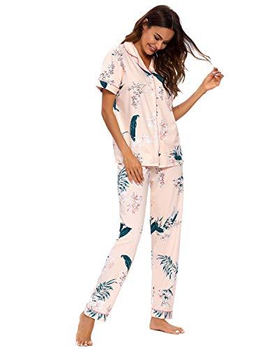 GOSO Pijama para Mujer - Conjunto de Pijama de Manga Cortos Floral para Mujer Pijama de Manga Cortos...