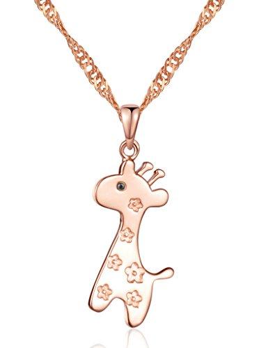 Yumilok gioielli in argento Sterling 925, con zirconia cubica, argento/oro rosa placcato lovely Giraffe SIKA ciondolo collana per donna/ragazza