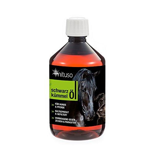mituso Schwarzkümmelöl 500ml für Hunde & Pferde, kaltgepresst & 100% rein, 1er Pack (1x 500ml) zur natürlichen Fellpflege