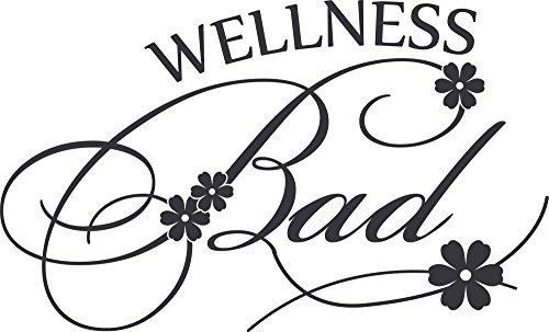 GRAZDesign Badezimmer Aufkleber Wellness Bad - Badtattoo für Wand mit Blümchen - Wandtattoo Bad Spa Bereich WC Schild / 50x30cm / 650237_30_073