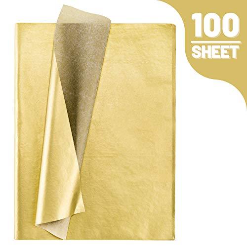 Whaline Seidenpapier Bulk, 100 Blatt Metallic Geschenkpapier gold