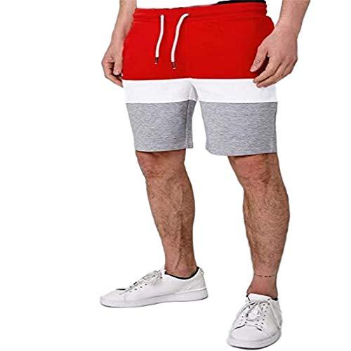 Pantalones Cortos Deportivos Ajustados para Hombre Algodón Moda Bloqueo de Color Verano Casual Fitness Deportes Pantalones para Correr Diseño Creativo Medium