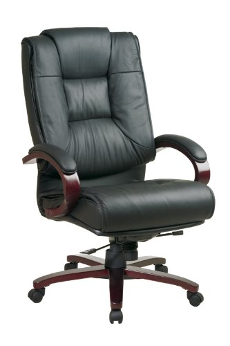 Office Star High Back Plush Leather Back and Seat with Deluxe Locking Mid Pivot Knee Tilt and Mahogany Finish Executive Chair
