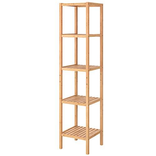 Homfa Badezimmerregal Bambus Badregal schmal Standregal verstellbar Bücherregal mit 5 Ablagen Pflanzenregal für Bad Wohnzimmer Balkon 33x33x146.3cm