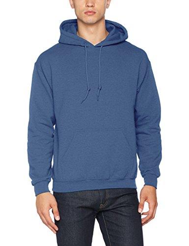 Gildan Men's Rib Knit Pouch Pocket Hooded Sweatshirt, Indigo Blue, Small