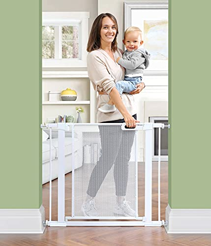 Ohgeni Baby Gate for Stairs, Extra Wide 37.8-Inch Mesh Dog Gate for Doorways Hallway, Pressure Mounted Easy Walk Through Safety Child Gate for Kids Toddler, Adjustable Tall Pet Puppy Fence Gate, Metal