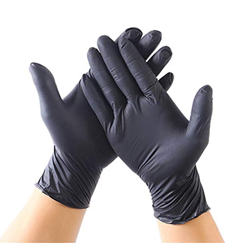 Sannysis Nitrilhandschuhe 100 Stück Einweghandschuhe Dicke Haushalt Einmalhandschuhe, Nitril Handschuhe, Anti-Virus, Disposible Gloves, Schwarz Schutzhandschuhe (Schwarz)