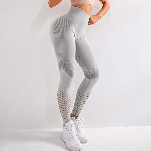 KAXI Neue Frauen Yoga Hosen Sport Laufen Sportbekleidung Dehnbare Fitness Leggings Nahtlose Athletic Gym Kompressionsstrumpfhose,Grau,XL