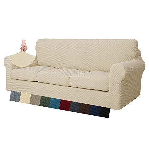 MAXIJIN 4 fundas de sofá extra grandes de jacquard para 3 plazas, superelásticas, antideslizantes, aptas para mascotas, funda protectora de muebles (4 plazas, beige claro)