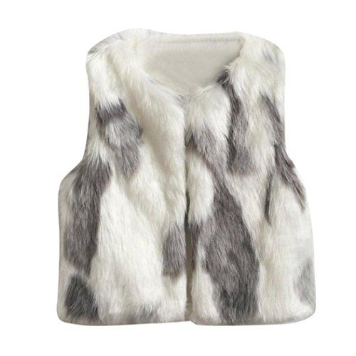 HOMEBABY Peuter Kids Baby Meisje Faux Bont Gilets, Winter Warm Baby Kleding Meisjes Mouwloos Jas Winter Body Vest Jas Fluffy Dikke Jas Zoete TaillejasOutwear voor 3-7 Jaar