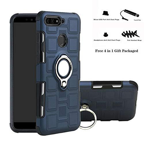 Labanema Huawei Y6 2018 / Honor 7A / Enjoy 8E Coque, 360 Degrés Rotation Ring Holder Stand Protection Case Cover pour Huawei Y6 2018 / Honor 7A / Enjoy 8E (4 en 1 Cadeau emballé)-Bleu Marine