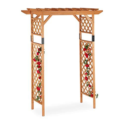 Relaxdays Holz-Rosenbogen, große Pergola aus Holz, wetterfeste Rankhilfe für Garten, extra breit, 230x162x79 cm, orange