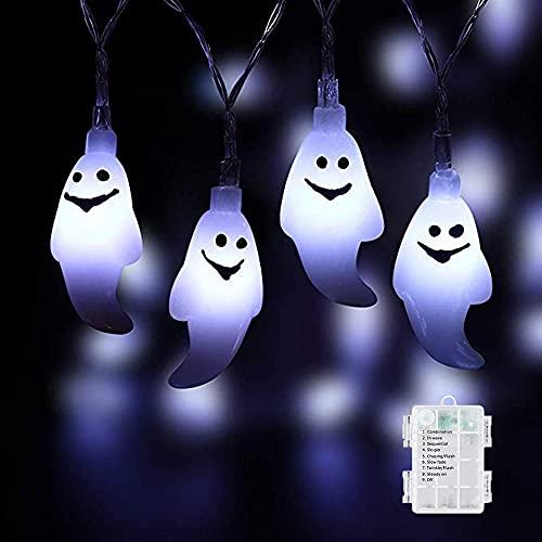 Ellxen Luci della Festa di Halloween Fantasmi,5M 50 LED Luci Fantasma Stringa,Fantasma per Decorazioni di Halloween 8 modalità Funziona a Batteria impermeabili Giardino Interni Portico Esterna