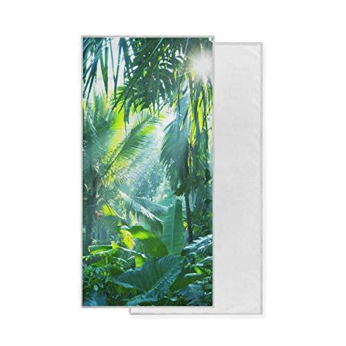 Gant de Toilette Bath Nauture Forest Tree Leaf Sunshine Polyvalent Gant de Toilette Essuie-Mains Ultra Doux Très Absorbant