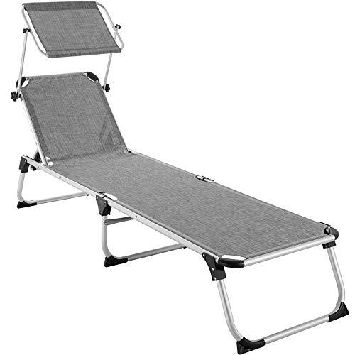 TecTake 800812 Alu Sonnenliege mit Dach, klappbar, Gartenliege mit 6-Fach Verstellbarer Rückenlehne und 2 Tragegriffen, 205 cm Liegefläche, grau meliert