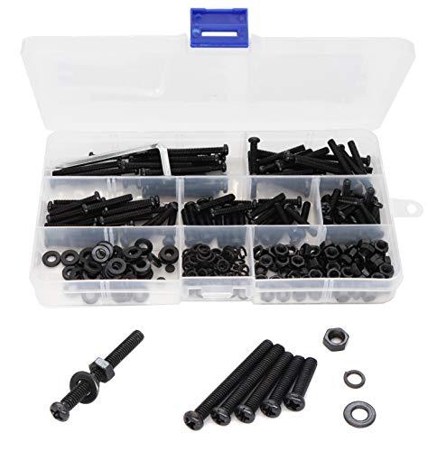 binifiMux 340pcs Black Pan Phillips Head M4 Machine Screws Nuts Washers Assortment Kit, Carbon Steel, M4 x 16mm/ 20mm/ 25mm/ 30mm/ 35mm