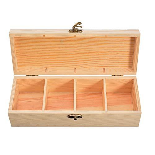 Joyero Caja De Almacenamiento De Madera De 4 Compartimentos, Caja De Contenedor De Reloj De Joyería De Té Con Cerradura Para Herramienta De Caja De Artesanía Casera
