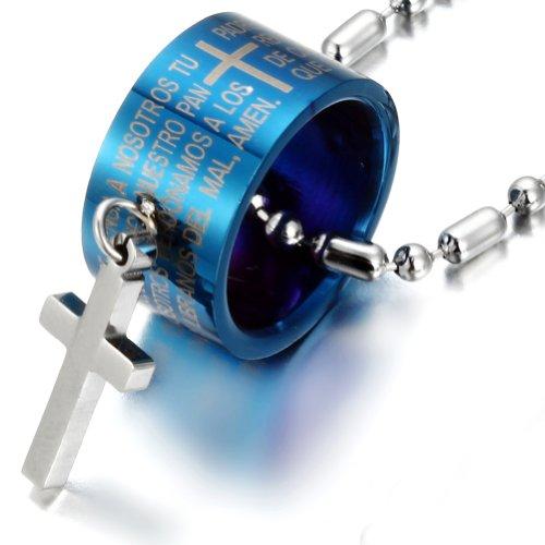 JewelryWe Schmuck Edelstahl Halskette Blau Zylinder mit Bibel-Schrift Gravur Silber Kreuz Anhänger Kugelkette Partnerketten Damen Herren Kette