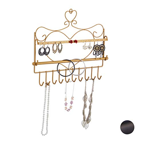 Relaxdays Soporte de Pared para Collares, Pendientes y Pulseras (30 x 36,5 x 3,5 cm), diseño de corazón, Color Dorado, 1 Unidad