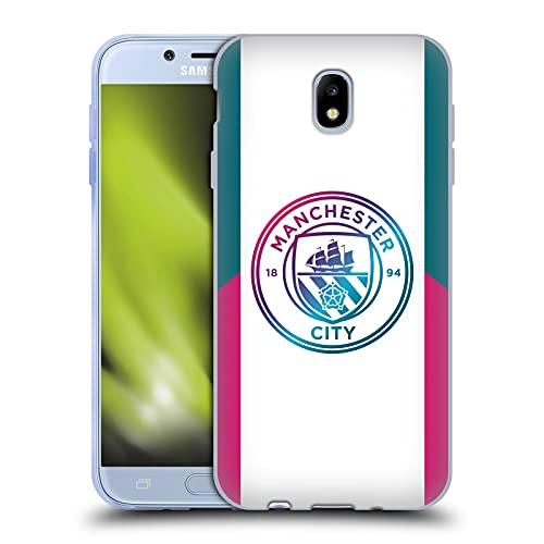 Head Case Designs Licenciado Oficialmente Manchester City Man City FC Lejos Kit de Insignia 2021/22 Carcasa de Gel de Silicona Compatible con Samsung Galaxy J7 2017 / Pro
