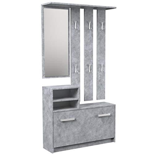 ADGO Juego de muebles de pasillo, armario, espejo y percha y zapatero, 6 perchas para ropa y abrigos, armario de pasillo, armario compacto para la entrada (hormigón)